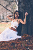 Portrait of beautiful wiccan girl in the forest Stock Photo