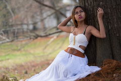Portrait of beautiful wiccan girl in the forest Stock Photography