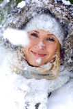 Portrait of beautiful winter blonde Royalty Free Stock Images