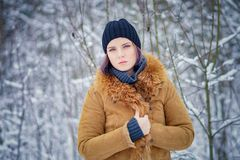 Portrait of a beautiful winter girl. In a forest Stock Image