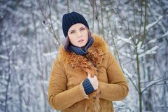 Portrait of a beautiful winter girl. In a forest Royalty Free Stock Images
