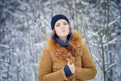 Portrait of a beautiful winter girl. In a forest Stock Images