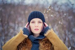 Portrait of a beautiful winter girl Royalty Free Stock Images
