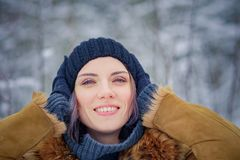 Portrait of a beautiful winter girl. In a forest Royalty Free Stock Image