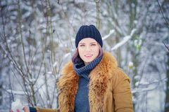 Portrait of a beautiful winter girl. In a forest Stock Photos