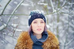 Portrait of a beautiful winter girl Royalty Free Stock Photos