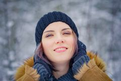 Portrait of a beautiful winter girl. In a forest Stock Photography