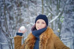 Portrait of a beautiful winter girl. In a forest the snow Stock Images