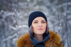 Portrait of a beautiful winter girl. In a forest the snow Stock Photos