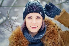 Portrait of a beautiful winter girl Royalty Free Stock Photography