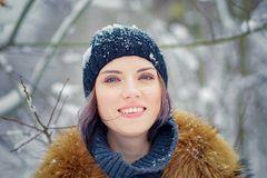 Portrait of a beautiful winter girl Royalty Free Stock Image