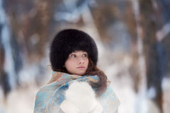 Portrait of beautiful winter woman Royalty Free Stock Image