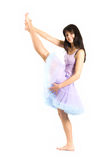 Portrait of the beautiful woman. The young beautiful girl in a suit of the dancer stock photo