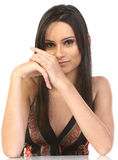 Portrait of a beautiful woman. Resting on table Royalty Free Stock Photo
