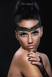 Portrait of a beautiful woman with an amazing make up Stock Photo