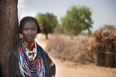 Portrait of a beautiful woman from Arbore tribe, Omo valley Royalty Free Stock Image