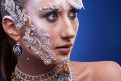 Portrait of Beautiful woman with artistic creative make up Royalty Free Stock Photos