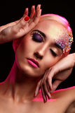 Portrait of beautiful woman with artistic makeup stock images
