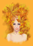 Portrait beautiful woman autumn abstract. Illustration imitation water color. Illustration Portrait beautiful woman autumn abstract. Illustration imitation water Royalty Free Stock Photography