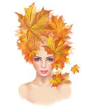 Portrait beautiful woman autumn abstract. Illustration imitation water color Royalty Free Stock Photo