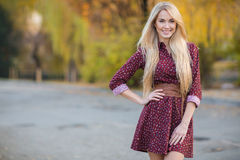 Portrait of beautiful woman in the autumn park. Stock Photo