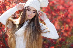 Portrait of beautiful woman in autumn Park royalty free stock images