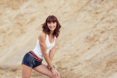 Portrait beautiful woman on beach Royalty Free Stock Photos
