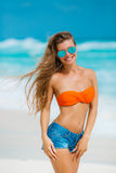 Portrait of beautiful woman on the beach. Royalty Free Stock Photo