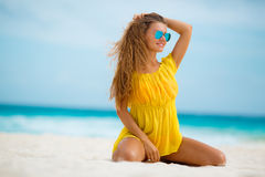 Portrait of beautiful woman on the beach. Royalty Free Stock Image