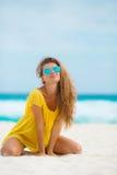Portrait of beautiful woman on the beach. Stock Photos