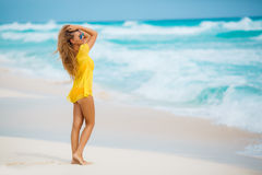 Portrait of beautiful woman on the beach. Royalty Free Stock Photography