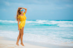 Portrait of beautiful woman on the beach. Royalty Free Stock Images