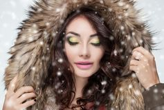 Portrait of a beautiful woman with beautiful make-up and manicure in a fur coat stock image