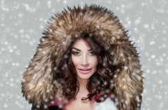 Portrait of a beautiful woman with beautiful make-up and manicure in a fur coat on a background of snow royalty free stock photography