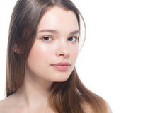 Portrait of beautiful woman beauty female model on white backgro Royalty Free Stock Image
