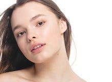 Portrait of beautiful woman beauty female model on white backgro Stock Photo