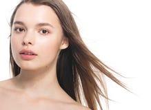Portrait of beautiful woman beauty female model on white backgro Stock Image