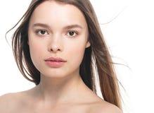 Portrait of beautiful woman beauty female model on white backgro Stock Photos