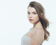 Portrait of beautiful woman beauty female model on white backgro Royalty Free Stock Photo
