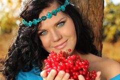 Portrait of beautiful Woman  with berry Royalty Free Stock Images