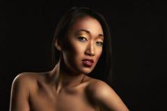 Portrait of beautiful woman on black Royalty Free Stock Photos
