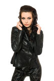 Portrait of beautiful woman in black clothes royalty free stock photos