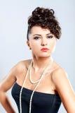 Portrait of a beautiful woman, black dress Stock Photography