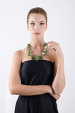 Portrait of beautiful woman in black dress Royalty Free Stock Images