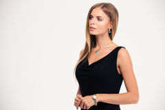 Portrait of a beautiful woman in black dress Royalty Free Stock Photo