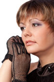 Portrait of  beautiful woman in black gloves Royalty Free Stock Photography