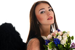 Portrait of a beautiful woman with black wings Stock Photo