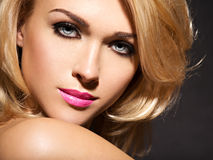 Portrait of  beautiful woman with blond hair.  bright fashion ma Stock Photo