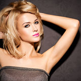 Portrait of  beautiful woman with blond hair.  bright fashion ma Royalty Free Stock Images
