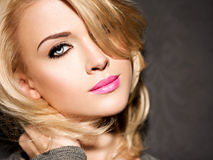 Portrait of  beautiful woman with blond hair.  bright fashion ma Stock Photos